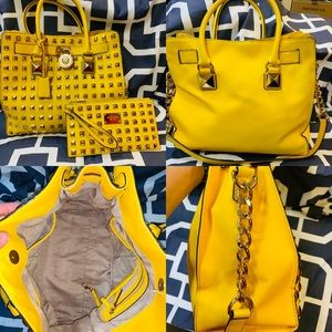 MICHAEL KORS Yellow STUDDED HAMILTON HANDBAG RARE